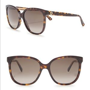 GUCCI 55mm Oversized Sunglasses Havana